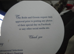 written statement telling guests not to post photos on social media